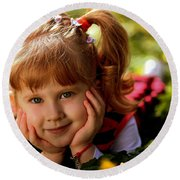 Red Haired Girl Round Beach Towel
