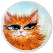 Red-haired Sofia The Cat Round Beach Towel