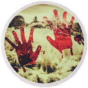 Red Handprints On Glass Of Windows Round Beach Towel