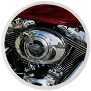 Red Harley Round Beach Towel