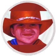 Red Hat Girl Round Beach Towel