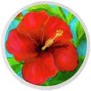 Red Hawaii Hibiscus #238  Round Beach Towel
