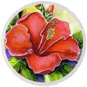 Red Hawaii Hibiscus Flower #301 Round Beach Towel