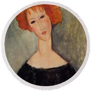 Red Head Round Beach Towel by Amedeo Modigliani