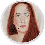 Red Headed Beauty Round Beach Towel