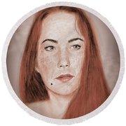 Red Headed Beauty Vdersion II Round Beach Towel