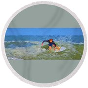 Red Headed Surfer Round Beach Towel