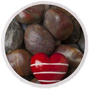 Red Heart Among Stones Round Beach Towel