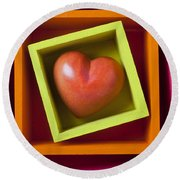 Red Heart In Box Round Beach Towel