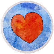 Red Heart On Blue Round Beach Towel