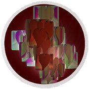 Red Hearts Round Beach Towel