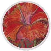 Red Hibiscus #1 Round Beach Towel