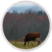 Red Holstein Of The Hills Round Beach Towel