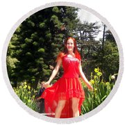 Red Hot - Ameynra Fashion By Sofia Metal Queen. Round Beach Towel