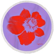 Red Hot Passion Flower Round Beach Towel