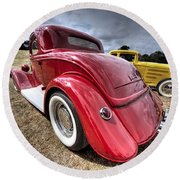 Red Hot Rod - 1930s Ford Coupe Round Beach Towel