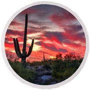 Red Hot Sonoran  Round Beach Towel