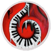 Red Hot - Swirling Piano Keys - Music In Motion Round Beach Towel