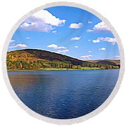 Red House Lake Allegany State Park Expressionistic Effect Round Beach Towel