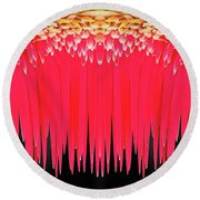 Red Icicles Round Beach Towel