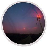Red In The Night Round Beach Towel