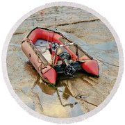 Red Inflatable Boat With Motor In Musselburgh Haven. Round Beach Towel