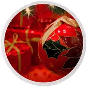 Red Is Christmas Round Beach Towel