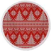 Red Knitted Winter Sweater Round Beach Towel