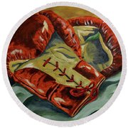 Red Laces  Round Beach Towel