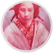 Red Lady Round Beach Towel