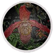 Red Lady Slipper Round Beach Towel
