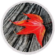 Red Leaf Round Beach Towel