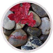 Red Leaf Wet Stones Round Beach Towel