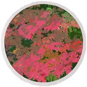 Red Leafs Work Number 12 Round Beach Towel