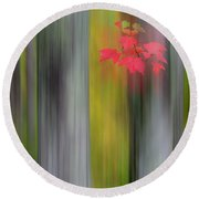 Red Leaves - Abstract Round Beach Towel by Gary Lengyel