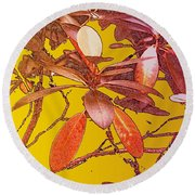 Red Leaves Gold Sunset Round Beach Towel