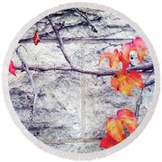Red Leaves Growing By The Wall. Autumn Round Beach Towel