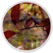 Red Leaves Painted Effect Round Beach Towel