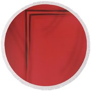 Red Left Angle Round Beach Towel