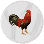 Red Leghorn Rooster Round Beach Towel