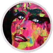Red Light Offer, Palette Knife Painting Round Beach Towel