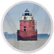 Red Lighthouse At The Sandy Point State Park Round Beach Towel
