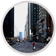 Red Lights - City Of Chicago Round Beach Towel