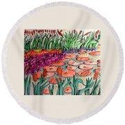 Red Lillies 2 Round Beach Towel