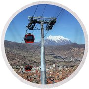 Red Line Cable Cars And Mt Illimani La Paz Bolivia Round Beach Towel