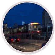 Red Line Train Rumbling Over The Longfellow Bridge In Boston Ma Round Beach Towel