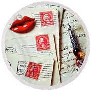 Red Lips Pin And Old Letters Round Beach Towel