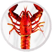 Red Lobster - Full Body Seafood Art Round Beach Towel