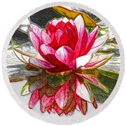 Red Lotus Flower Round Beach Towel