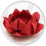 Red Lotus Origami Round Beach Towel